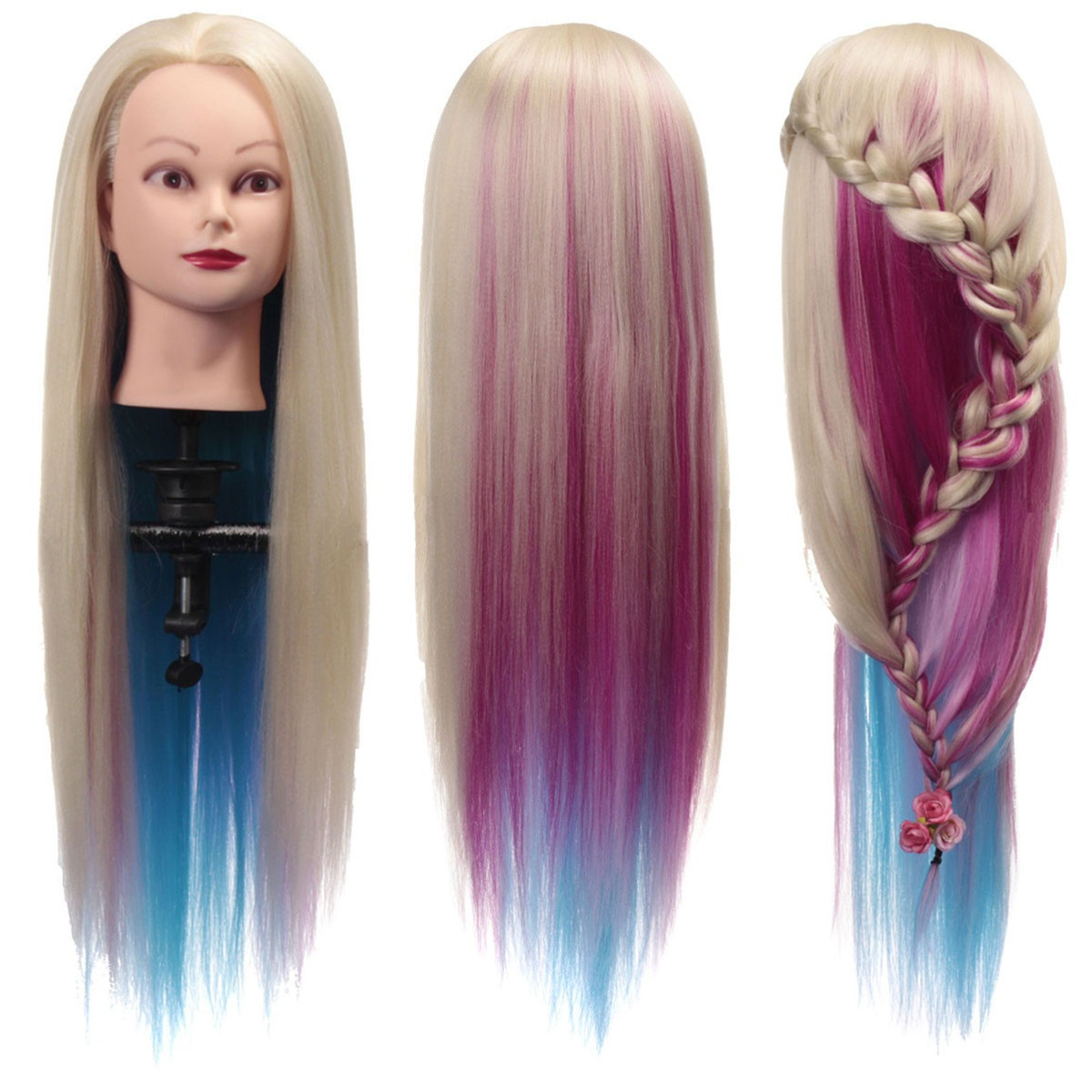 """27"""" Salon Mannequin Head With Colorful Hair Cosmetology Practice Hairdressing Doll & Clamp"""