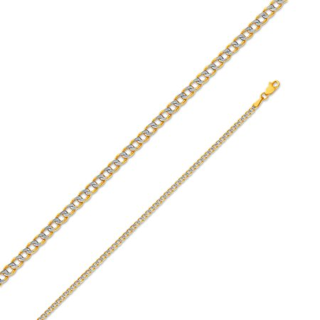 """14k Yellow Gold 2mm Hollow Cuban Concaved Curb White Pave Diamond-Cut Chain Necklace 20"""""""