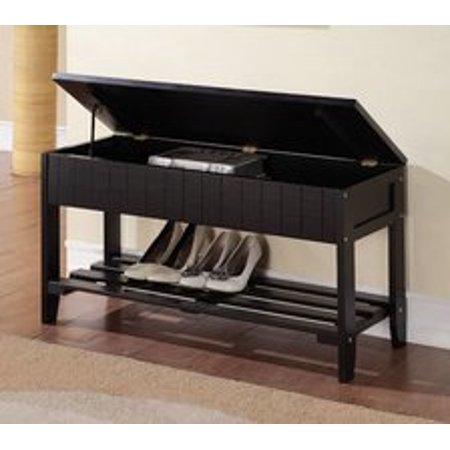 Legacy Decor Solid Wood Shoe Bench Rack With Storage Black