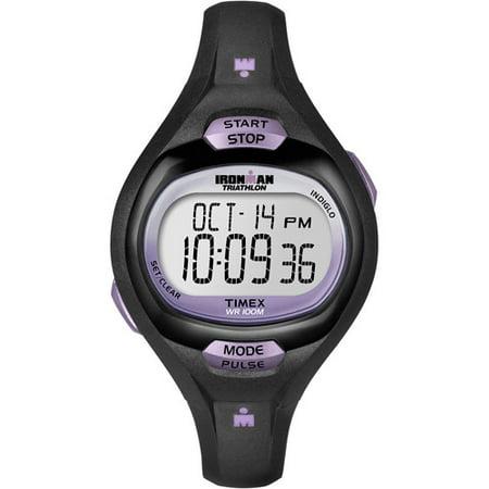 Timex Women's T5K1879J Ironman Pulse Calculator Black/Purple Digital Watch