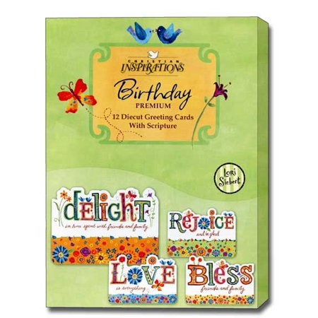 Christian Inspirations Delight in Life Box of 12 Premium Diecut Assorted Christian Birthday Cards](Christian Birthday)