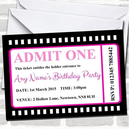 Movie Ticket Pink Birthday Party Invitations
