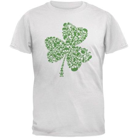 St. Patricks Day - Skull Shamrock White Adult T-Shirt - Shamrock Skirt