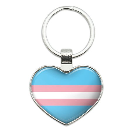 Transgender Trans Pride Flag Original Blue Pink White Heart Love Metal Keychain Key Chain Ring