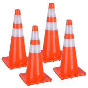 """Yescom 28"""" Traffic Cones Reflective Safety Cones Fluorescent Collars Overlap Parking Construction Emergency 4 Pcs"""