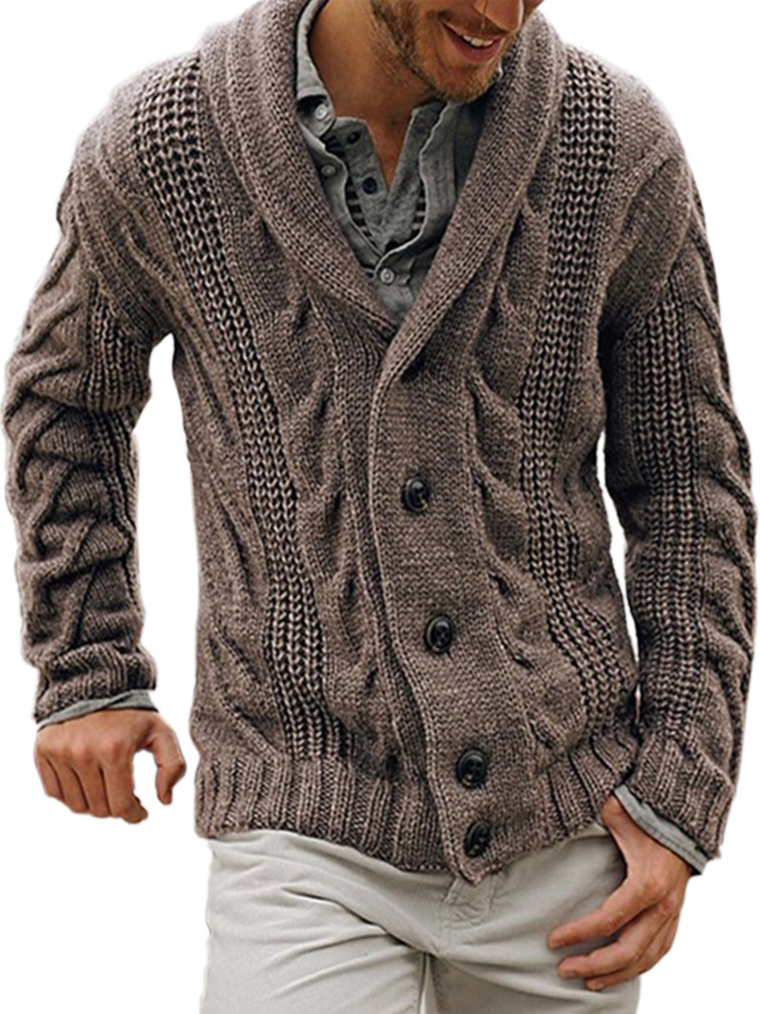 Men Cardigan Sweater Knitted Jumper Coat Casual Buttons Solid Color Jacket Tops