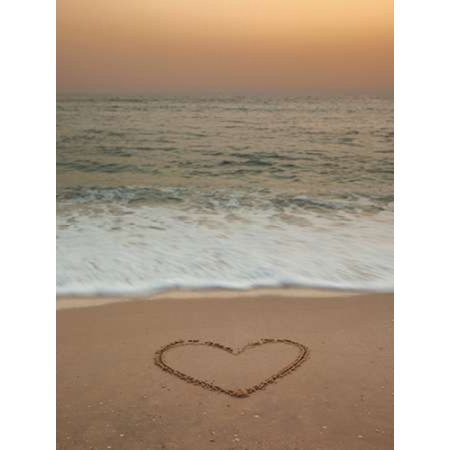 Sand writing - Heart shape drawn on beach Poster Print by  Assaf Frank