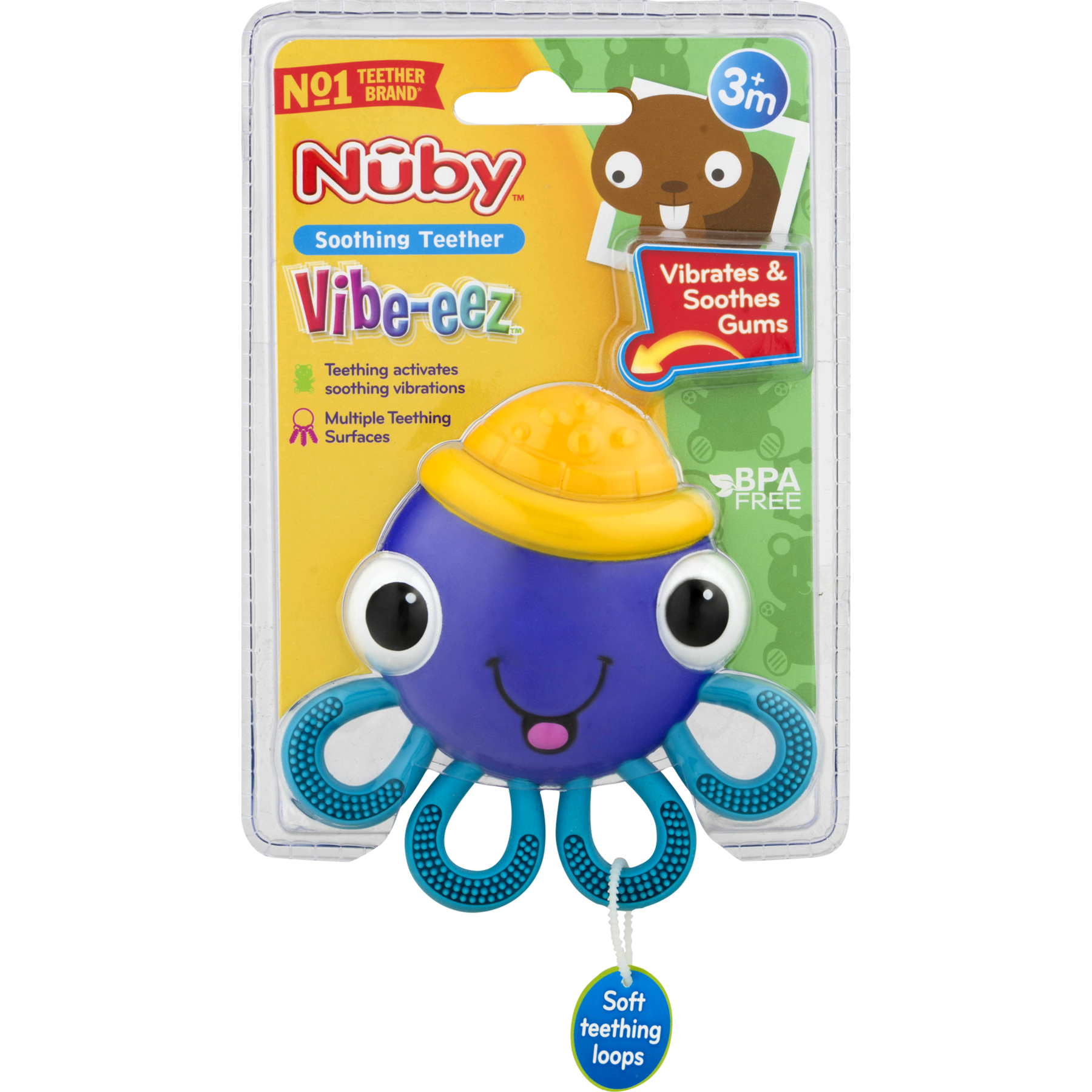 Nuby Vibe-eez Soothing Teether, Octopus - Walmart.com - Walmart.com