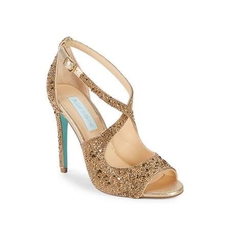 Betsey Johnson Ankle Strap Sandals (Sage Embellished Satin Ankle-Strap)