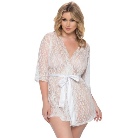 Plus Size Scalloped Lace Robe, Plus Size Lace Robe - Queen Robe