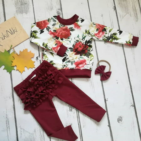 3PCS Newborn Toddler Baby Girls Winter Outfits Clothes Flower Tops+Ruffle Pants Leggings Set](Winter Soldier Outfit)