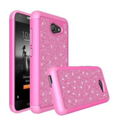 Alcatel A30 Case,Alcatel Kora Case,Alcatel Zip LTE with [HD Screen Protector] Glitter Bling Rhinestone Sparkle Soft Silicone Protective Heavy Duty Hybrid Protector Case Cover - Hot Pink Hot Pink Rhinestones Snap