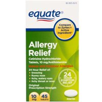 Equate All Day Allergy Cetirizine HCl Tablets 10mg, 45 Ct