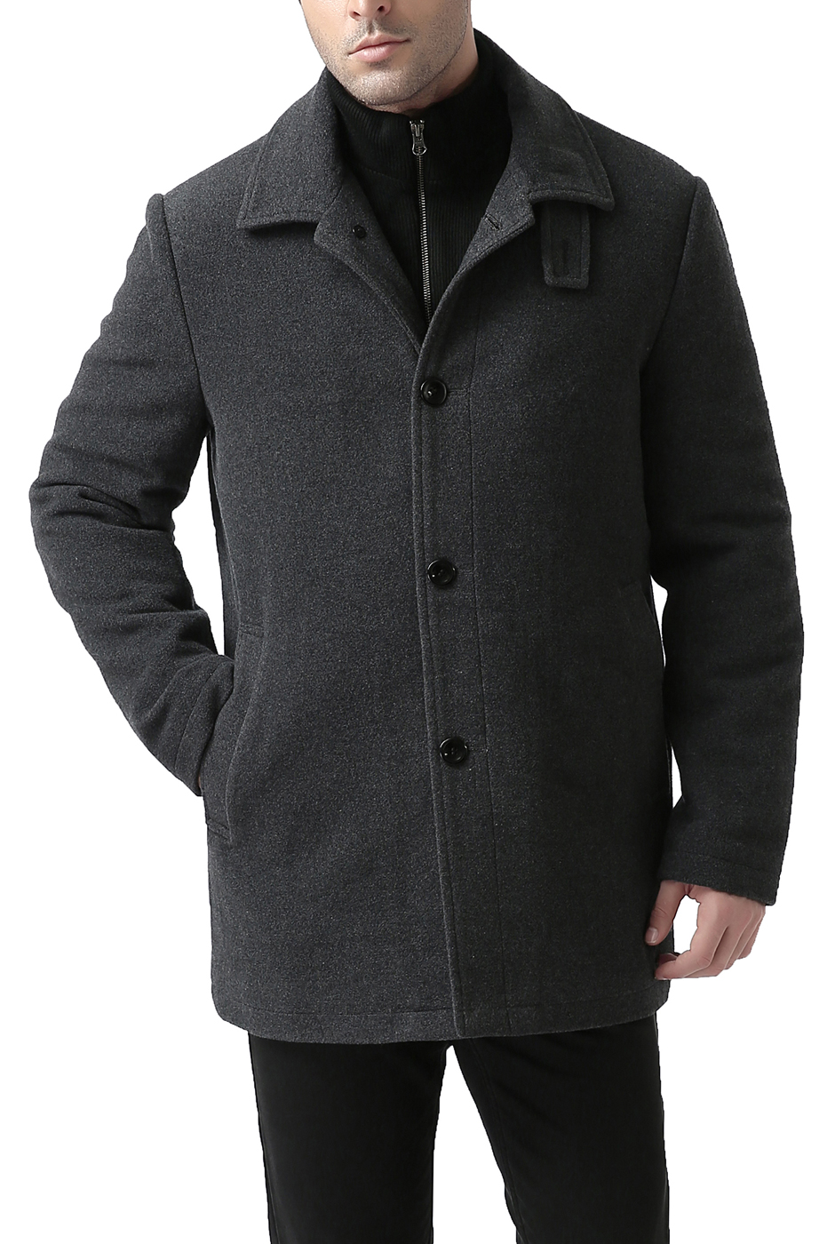 BGSD Men's 'Graham' Zip-Front Bib Wool Blend Car Coat by