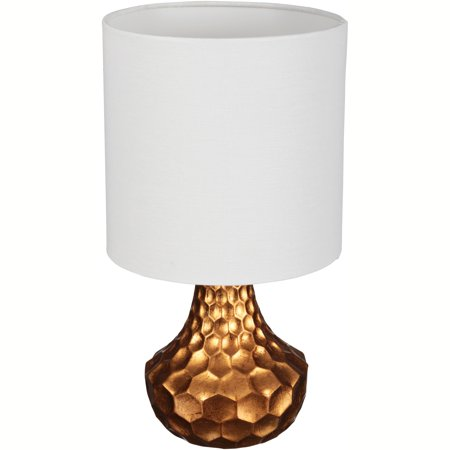Better homes gardens gold faceted lamp with linen shade 8 x 8 x 16