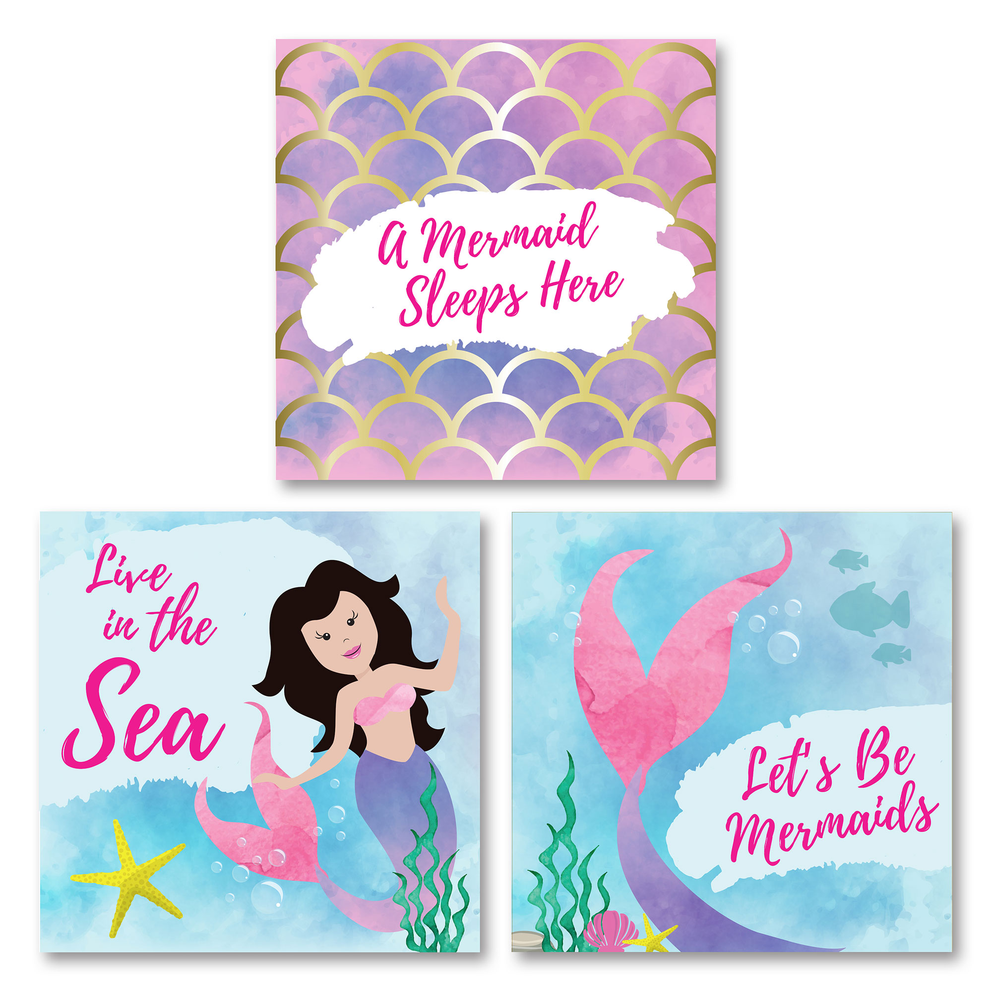 "Adorable ""A Mermaid Sleeps Here,"" ""Live In The Sea,"" and ""Lets Be Mermaids"" Set, Perfect For a Child's Room or Nursery; Three 12x12in Unframed Paper Posters"
