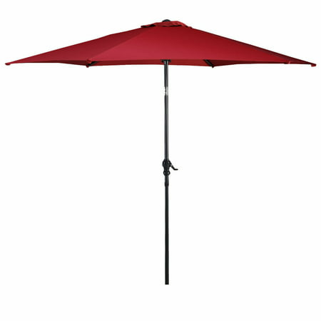 Costway 10FT Patio Umbrella 6 Ribs Market Steel Tilt W/ Crank Outdoor Garden - 10ft Market Patio Umbrella
