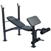 Soozier Incline   Flat Exercise Free Weight Bench w  Curl Bar   Leg Extension