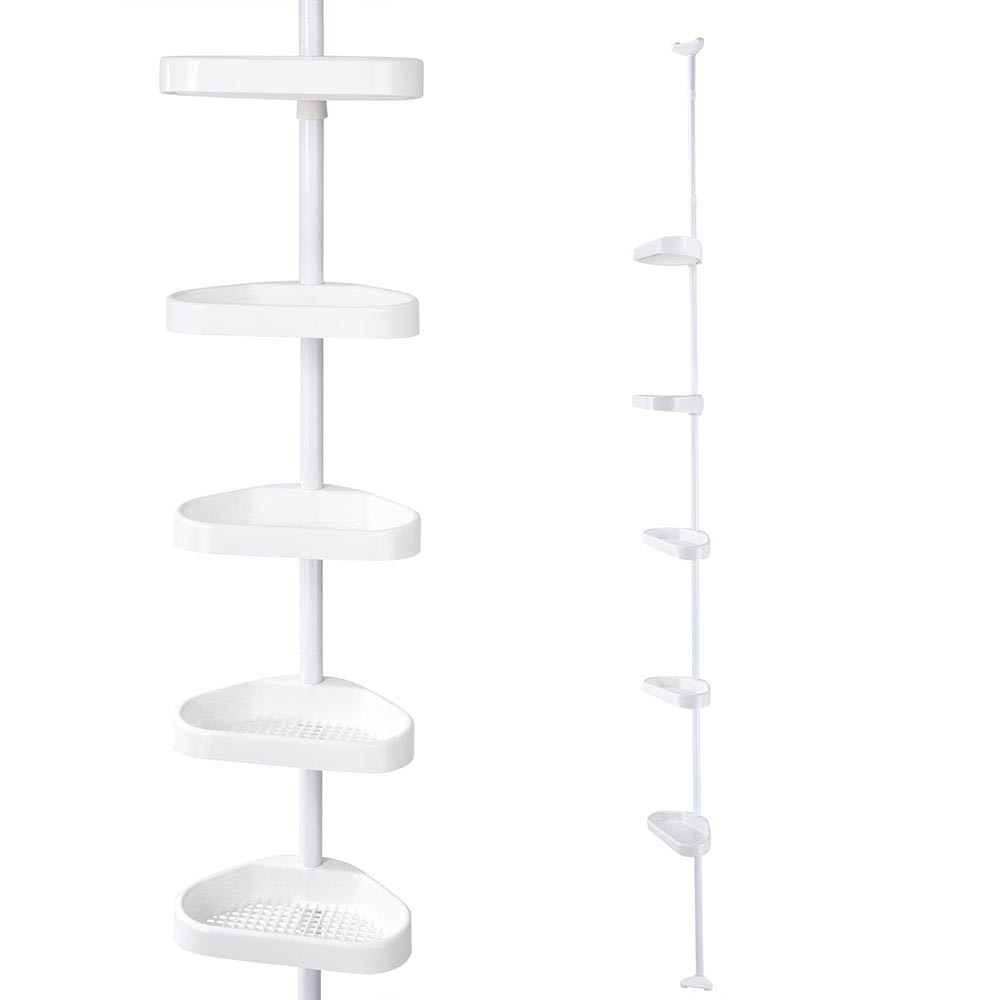Yescom 5-Tier White Plastic Tension Bathroom Corner Shelf Bath Shower Caddy Pole Storage... by Yescom