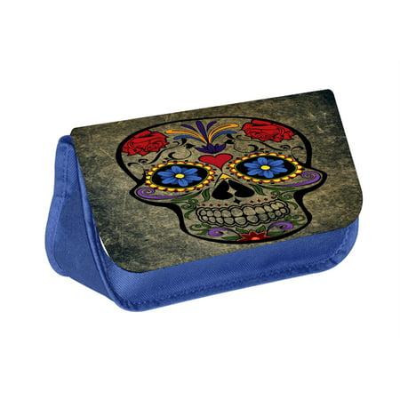 Grunge Skull - Blue Medium Sized Makeup Bag with 2 Zippered Pockets and Velcro Closure (Make Up Skull)