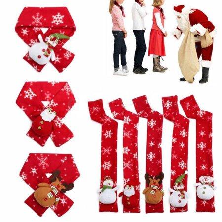 Christmas Scarf Snowman Santa Claus Deer Doll Kids Baby Soft Warm Wraps Shawl Winter Warm Lovely Cartoon Xmas Gift Scarves Apparel Accessories
