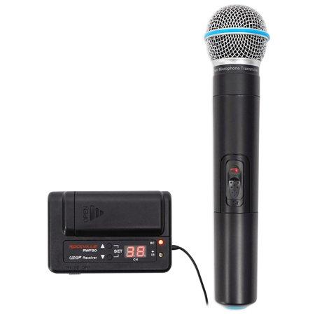 Rockville RWF20 Handheld UHF Wireless Microphone; Battery Powered Receiver+Mic!