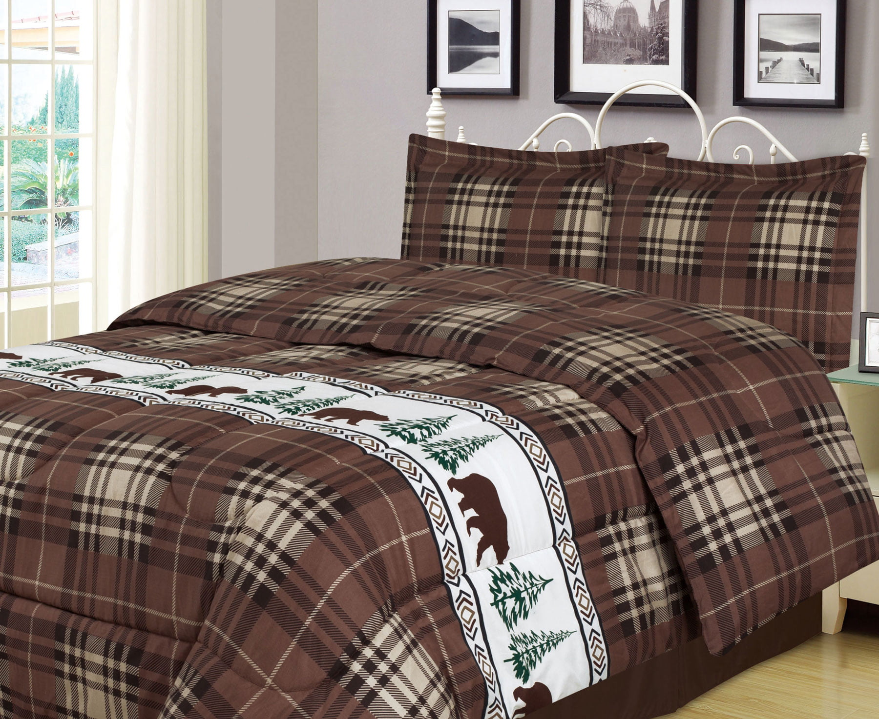 Plaid Bear Full Queen Comforter 3 Piece Bedding Set Rustic Cabin Lodge Walmart Com Walmart Com