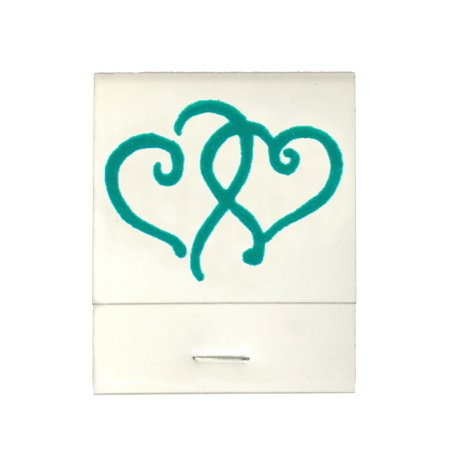 50 White 20 Strike Matches with  Printed Hearts in Teal Matchbooks for Wedding, Anniversary, Birthdays - Wedding Matchbooks