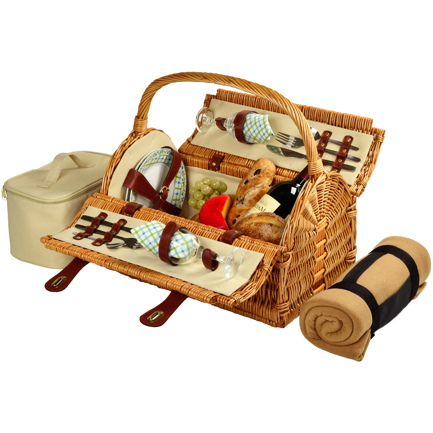 Picnic at Ascot Sussex Picnic Basket for 2 w/Blkt  (709B-G)
