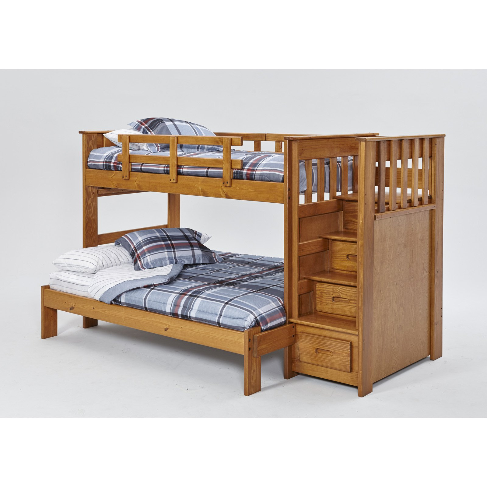 Woodcrest Heartland Twin Full Front Load Stairway Bunk Bed Walmart Com