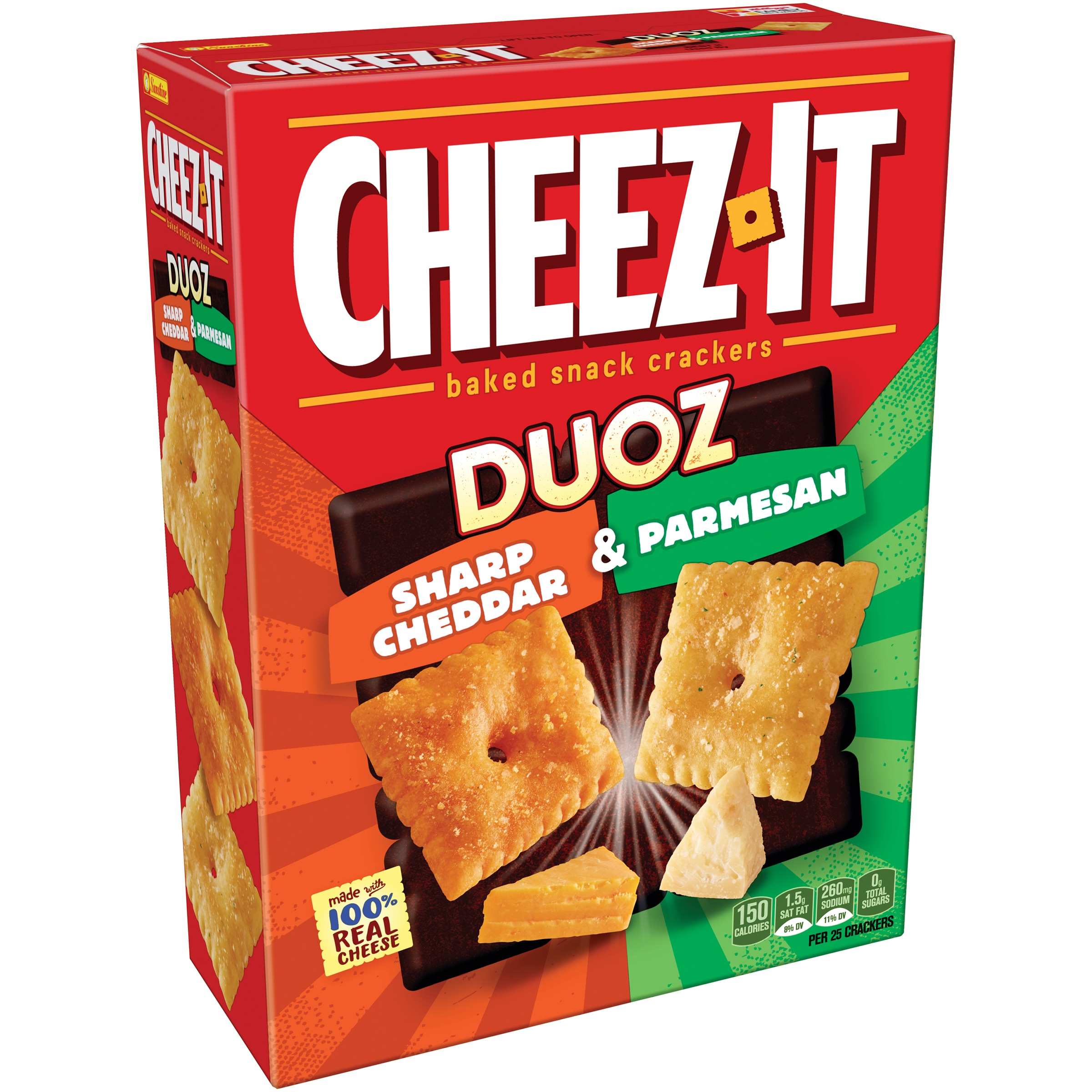 Cheez-It® Duoz Sharp Cheddar & Parmesan Baked Snack Crackers 12.4 oz. Box