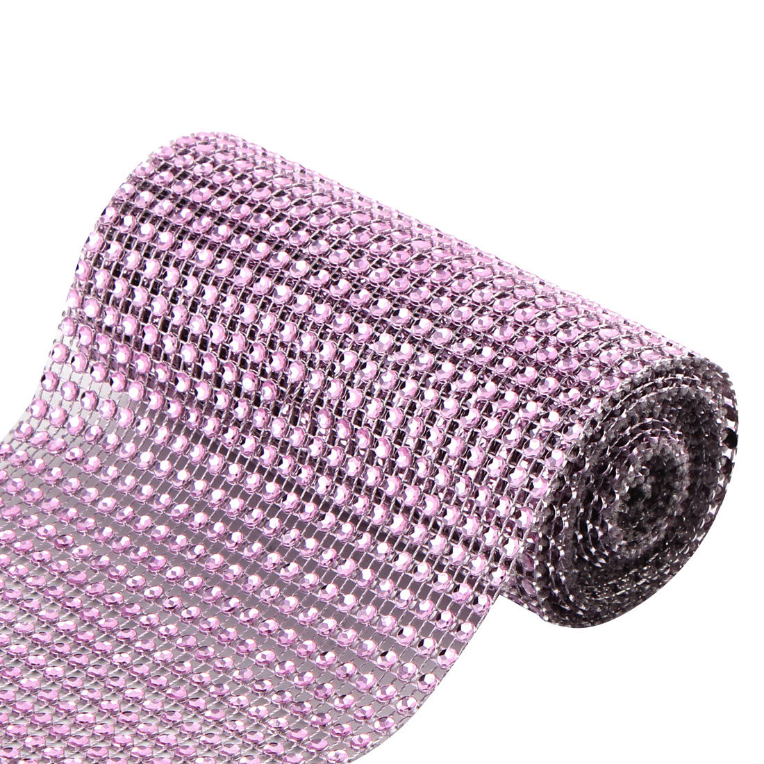 Wedding Party Plastic Cake Decoration Rhinestone Mesh Diamond Ribbon Pink 2 Yard