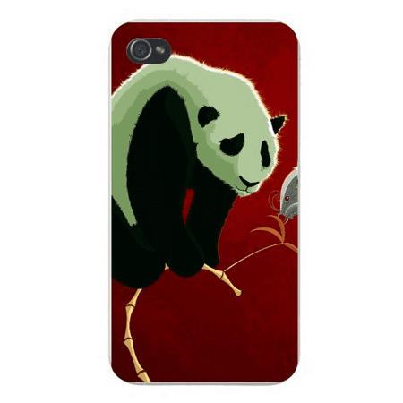 Apple Iphone Custom Case 5 / 5s AND SE White Plastic Snap on - Giant Panda on Tiny Branch w/ Butterfly Cute Cartoon