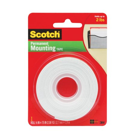 Scotch Double Coated Permanent Mounting Tape, 1/2 W X 75 L in, 2 lb, Clear, High Density Foam