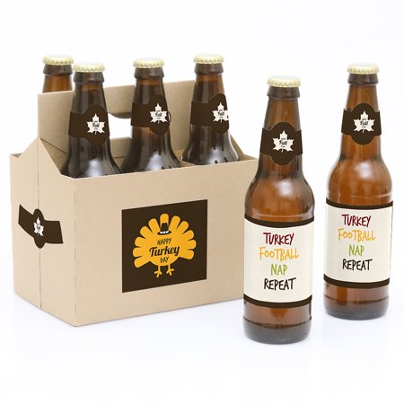 Happy Turkey Day - Thanksgiving Party Decorations for Women and Men - 6 Beer Bottle Label Stickers and 1 Carrier You want to give someone a Thanksgiving gift - Happy Turkey Day beer bottle labels that will fit any party of your family get together! Our Happy Turkey Day Thanksgiving Beer Bottle Labels and Carrier are the perfect gift for the adult or bring to a party. This 6-pack set comes with a craft paper carrier and with beer bottle labels that are printed on sticker paper that is waterproof. Apply labels to room temperature bottles. Apply beer bottle labels either after removing original label for best results or put over existing labels if you choose. Chill after you are done applying labels. For the two larger labels that are left over apply to the front and back of paper carrier. Use the two smaller ones to put on each end of the paper carrier to give you the completed look. (Beer in image is obviously NOT included).Set of 6 will decorate 6 bottles and 4 labels for decorating the kraft paper carrier. Labels are printed on sticker paper that is waterproofThe main sticker label is 3.5  x 3  and the collar/neck sticker label is 3.5  long x 1.5  wide at the center.Apply labels to room temperature bottles. For best results apply the labels to the bottle after removing the original label. They will also work by placing the labels over the existing label. Chill after you are done applying labels. (Soda/Beer in image is NOT included).