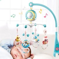 English Songs Musical Baby Crib Mobile with Projection Music Box Rattle Bed Bell Toys for 0-18 Months (without Battery)