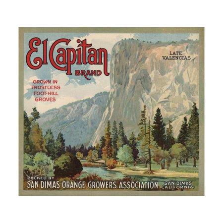 El Captain Brand - San Dimas, California - Citrus Crate Label Print Wall Art By Lantern Press (El Captain Wall)