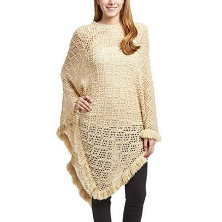 Peach Couture Women's Crochet Light Knit Fall Fringe Tassel Shawl Wrap Poncho