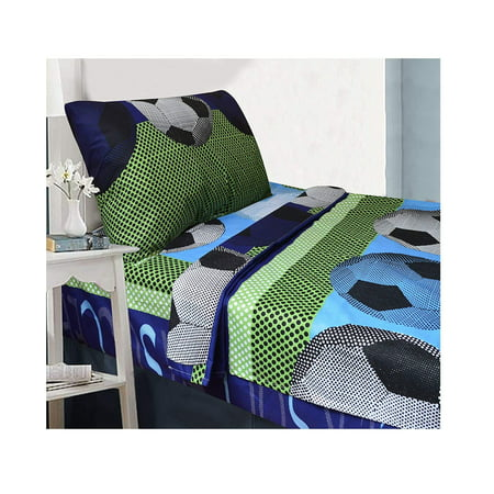 All American Collection 3 Piece Twin Size Soccer Sheet Set, Matching Comforter and Curtain Available (SHEET SET ONLY) SHEET SET ONLY