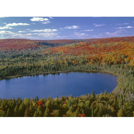 USA, Minnesota, Superior National Forest, Fall Colored Northern Hardwood Forest and Oberg Lake Print Wall Art By John (Best Lakes In Northern Minnesota)