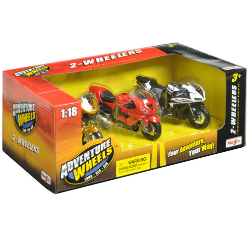 Adventure Wheels 1:18 Scale 2-Wheeler Vehicles 3pk