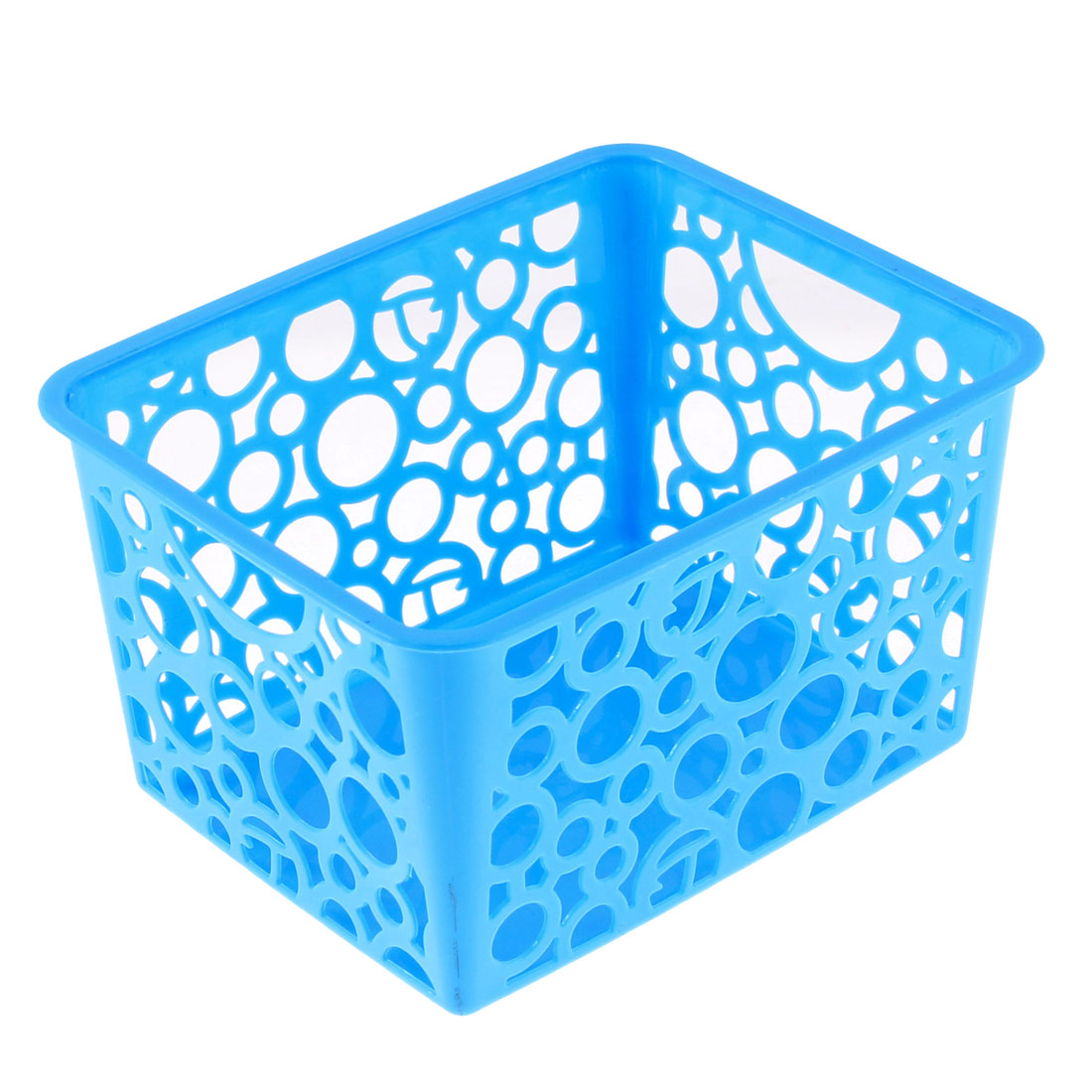 Home Plastic Hollow Out Circle Design Storage Basket 144mmx114mm Blue