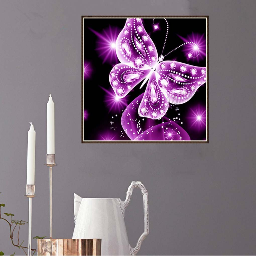 5D Pink Butterfly Rhinestone Cross Stitch DIY Crystal Animal Art Needlework Home Office Embroidery Diamond Painting