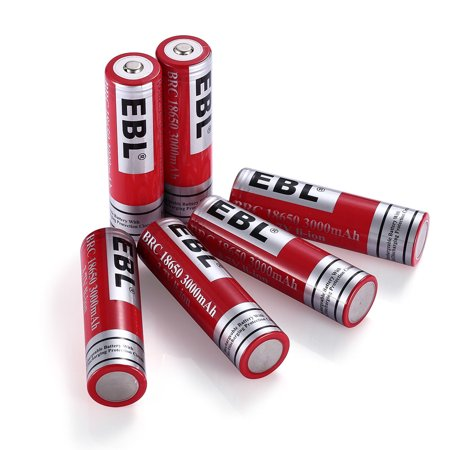 EBL 6-Pack 18650 Battery 3.7V 3000mAh Li-ion Rechargeable Batteries for Flashlights Toys with Stable Storage