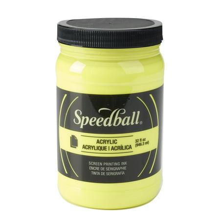 Speedball Permanent Acrylic Screen Printing Ink, 32 oz. Jar, Fluorescent Yellow Acrylic Screen Printing Ink