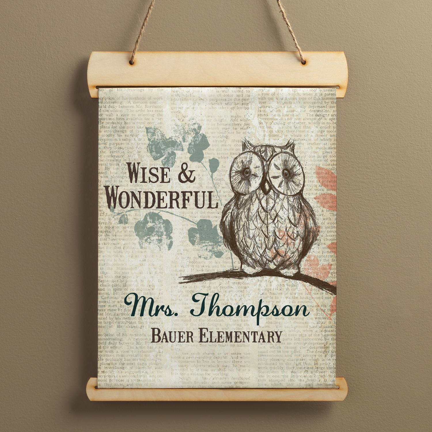 Wise Owl Personalized Teacher Hanging Canvas Banner