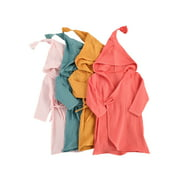 Children's Long-sleeved Bubble Cotton Bath Robe, Solid Color Lace Hooded Bathrobe, Toddler Home Bathing Suits