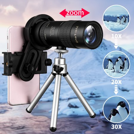 10-30X Adjustable Zoom Hunking Optical Night Vision Monocular Telescope Telephoto Camera Lens+ Cell Phone Clip +Tripod - Vision Lens