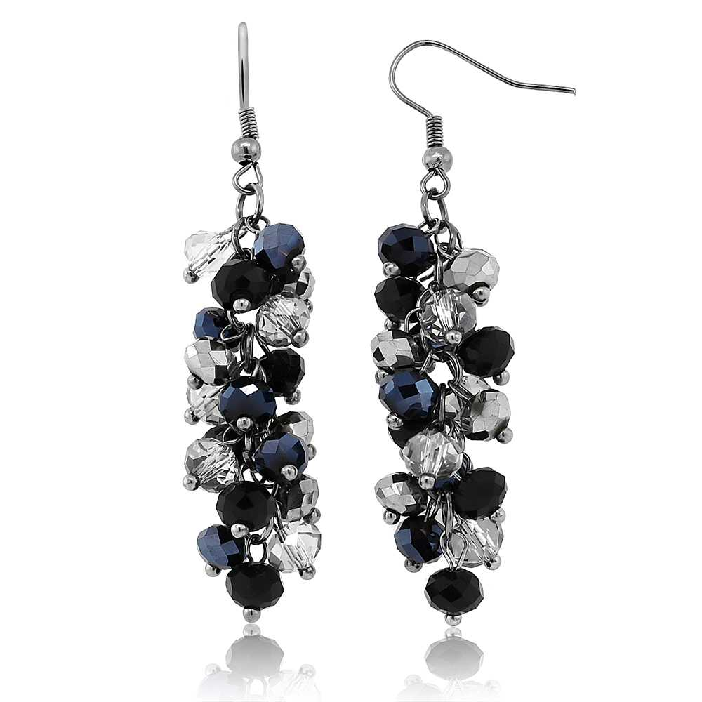 "2"" Black and Silver Cluster Faceted Crystal Dangle Hook Earrings For Women"