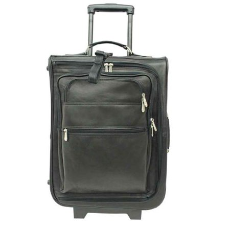 19-Inch High Leather Travelling Bag w Multi-Pocket in Black